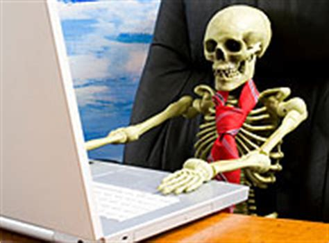 Skeleton At Desk work till you drop as britons stop saving this is money