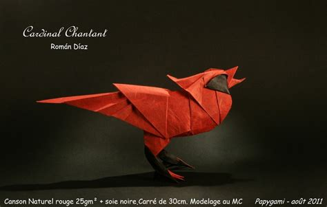 Origami Cardinal - 24 beautiful migratory origami birds for the origamimigration