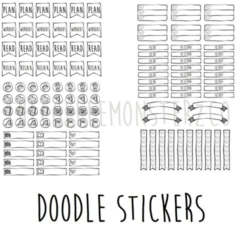 printable planner doodles thecoffeemonsterzco sellfy com