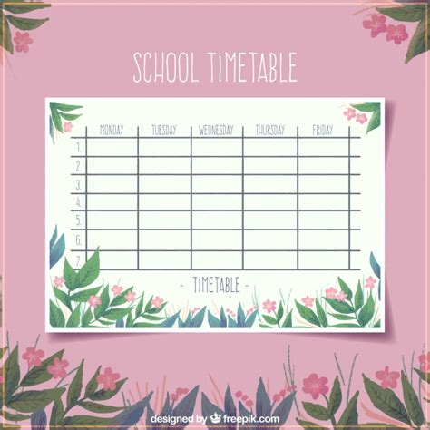 timetable outline template floral pink school timetable template vector free