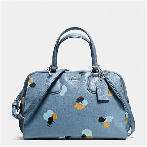 Coach Flowery coach nolita satchel in floral print pebble leather in blue lyst