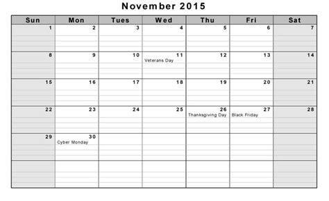 Calendar Template Docs 2015 November 2015 Calendar Doc Calendar Picture Templates