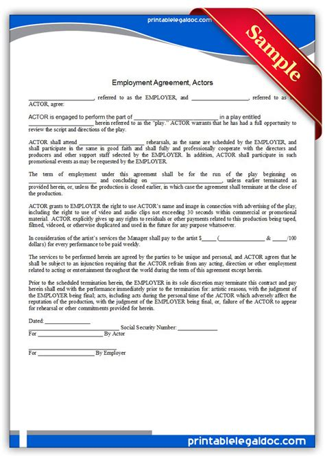 free printable employment agreement actors form generic