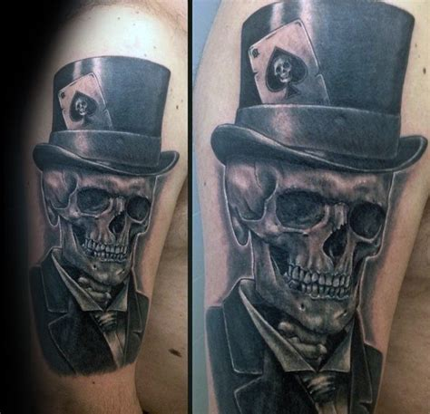 skull with tophat tattoo 40 top hat designs for topper ink ideas