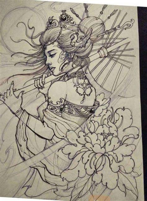 geisha tattoo neo traditional 25 melhores ideias sobre mangas de tatuagem de l 243 tus no