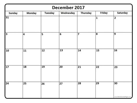 December 2017 Calendar Template   calendar printable free