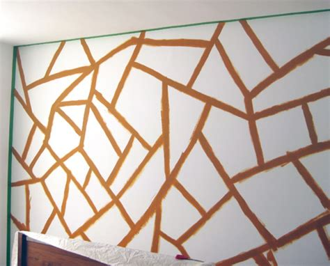 pattern wall painting ideas diy project geometric painted wall design sponge