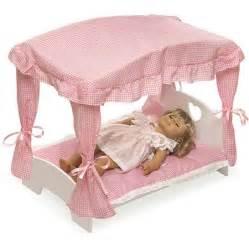 Doll Canopy Bed Pink Gingham Bedding Badger Basket Doll Canopy Bed With Pink Gingham Bedding