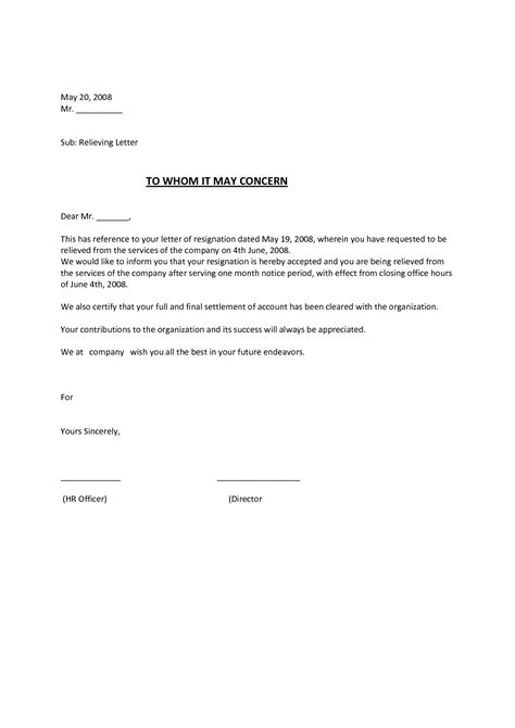 relieving letter template employee relieving letter a relieving letter is meant to
