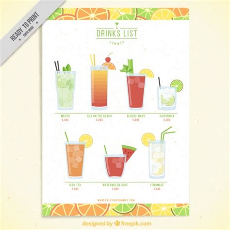 cocktail list template fruit drink list template vector free