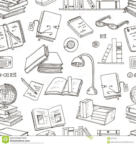doodle book doodle books reading seamless pattern stock