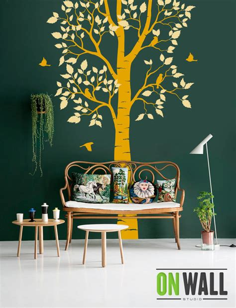 nature wall stickers large nature tree wall decal with birds vinyl decals nature