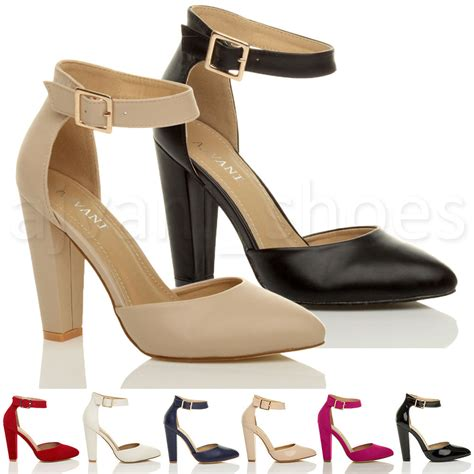 ankle shoes for womens high block heel ankle buckle pointed