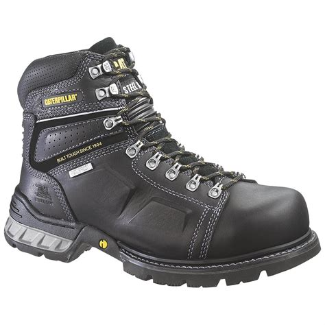 black steel toe boots for s cat 174 endure waterproof steel toe work boots black