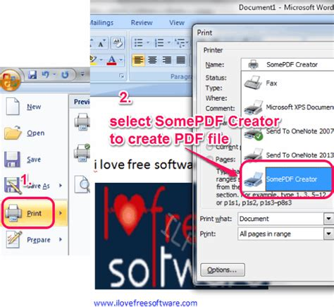 how to create pdf file using print option of notepad word