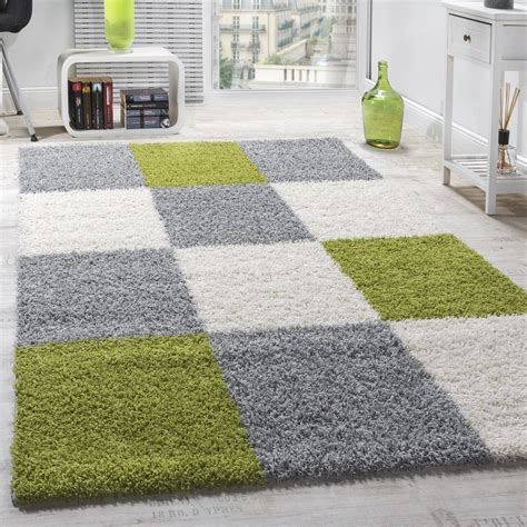 shaggy teppich hochflor langflor gemustert in karo gr 252 n - Teppich Grau Gemustert