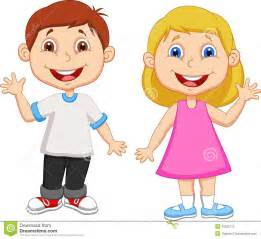 Cartoon boy and girl waving hand stock photo image 33235770