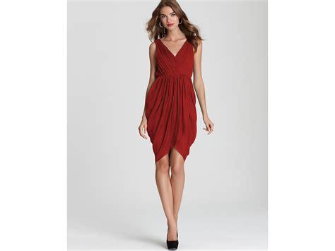 draped tulip skirt alice olivia tulip skirt dress marielle draped in red lyst