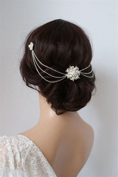 Wedding Hair With Headpiece by Wedding Headpiece With Pearls Silver Headchain Bridal