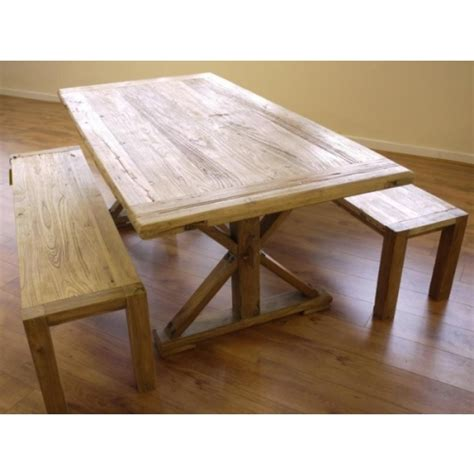 Oak Benches For Dining Tables Shabby Chic Wooden Dining Table 2 Benches Garden Store