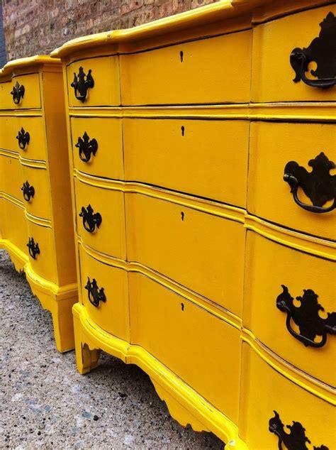 Yellow Dresser by Vintage Dresser Pair In Yellow