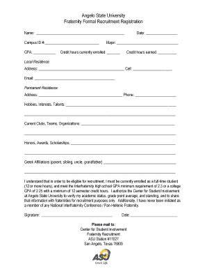 Nyit Mba Registration Form by Fillable Angelo Fraternity Formal Recruitment