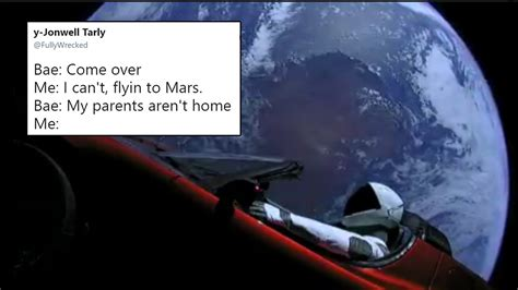 space meme after spacex sent a car into space started