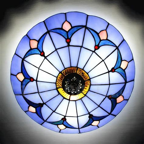 flush mount blue stained glass 12 inch flush mount