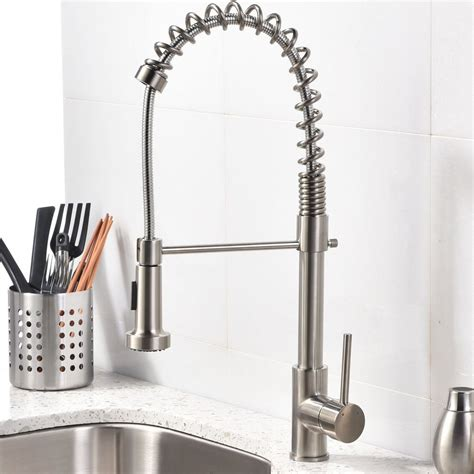 kitchen sink and faucet brushed nickel kitchen sink faucet with pull sprayer