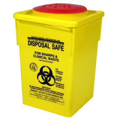 Box Sharp sharps disposal safe container 1 7l officeworks