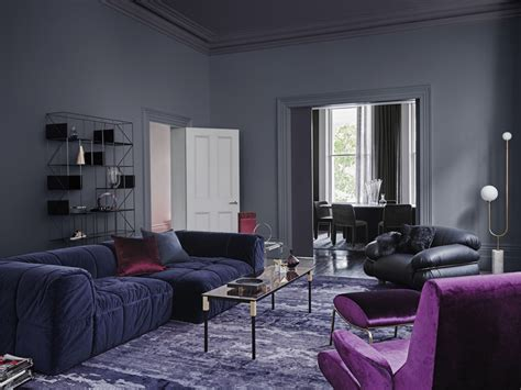 dulux 2018 colour forecast reflect grey living room with purple velvet inspirations