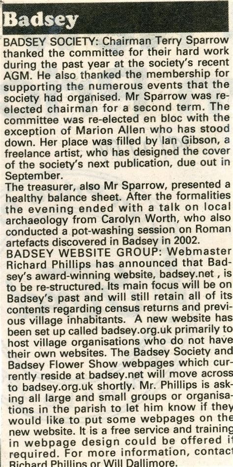 society section newspaper news article 2004 feb 19 badsey society news in the