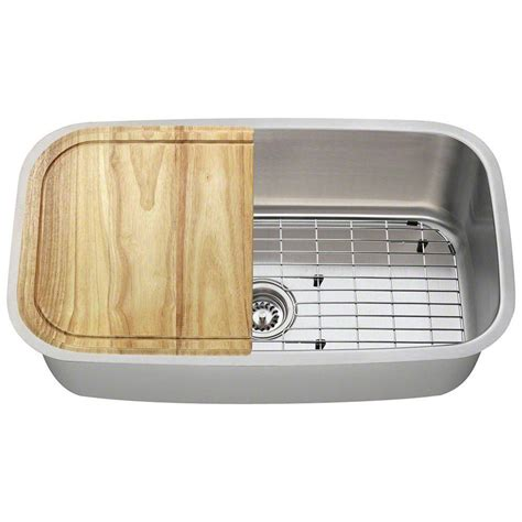 single bowl stainless steel kitchen sink polaris sinks all in one undermount stainless steel 31 in