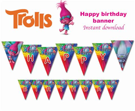 printable happy birthday personalized banner instand dl trolls flag banner bunting happy birthday