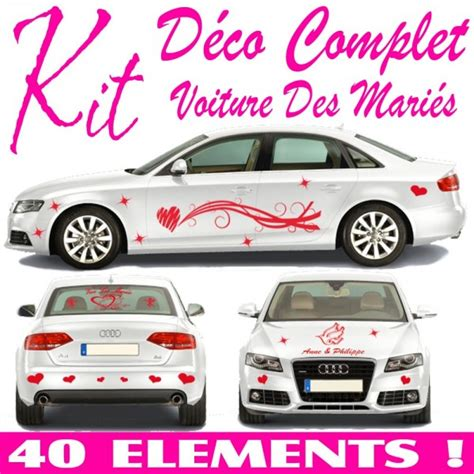 Kit Decoration Voiture Mariage by Stickers Mariage Voiture Kit Complet 40 Pcs 183 184 184