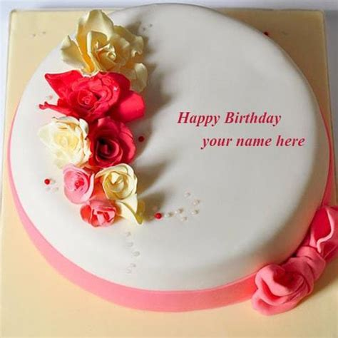 Happy Birthday Wishes With Name Edit Write Name On Rose Flowers Happy Birthday Cake Wishes