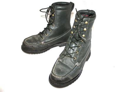 vintage mens boots leather cabela s green moc toe