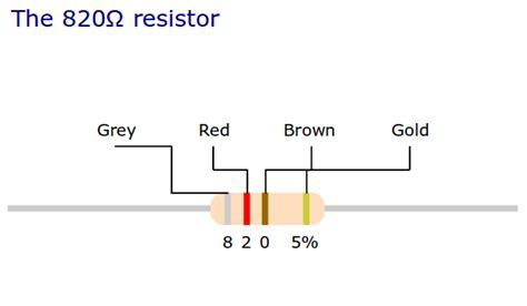 820 ohm resistor resistor color coding and standard value zero robotics
