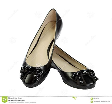 Flat Shoes Nobody pair of black flat shoes stock photos image 23608023