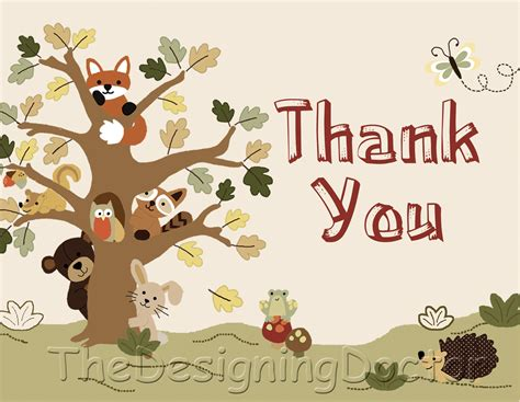 printable animal thank you cards woodland animal echo forest friends theme baby shower