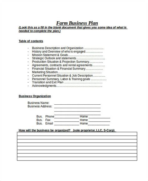 farm business plan template images templates design ideas