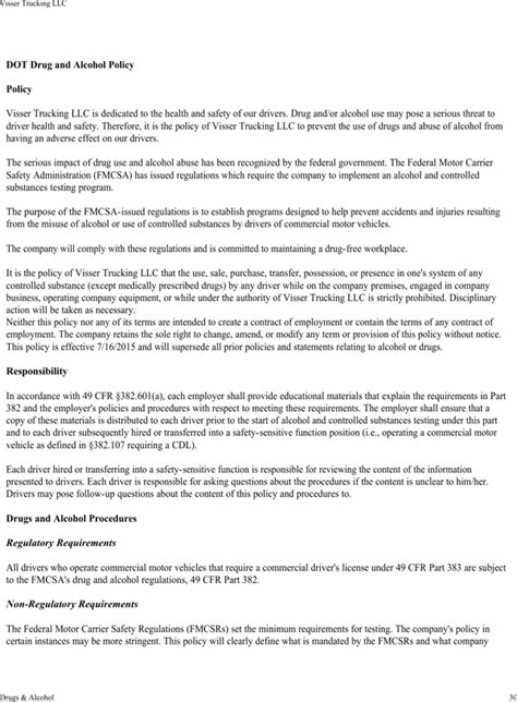Download Visser Trucking Company Safety Policy Template For Free Page 34 Formtemplate Trucking Safety Program Template