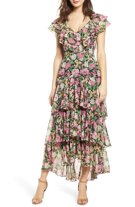 wayf chelsea tiered ruffle maxi dress best maxi dresses