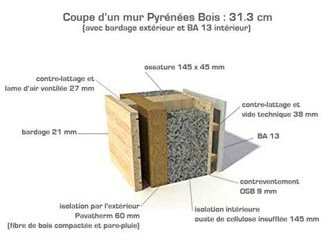 Brique Ou Parpaing Rt2012 by Coupe Du Mur Ossature Bois Pyr 233 N 233 Es Bois Rt 2012