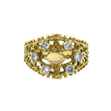 Decorative Ring by Opal And Accents On Decorative Carved Ring