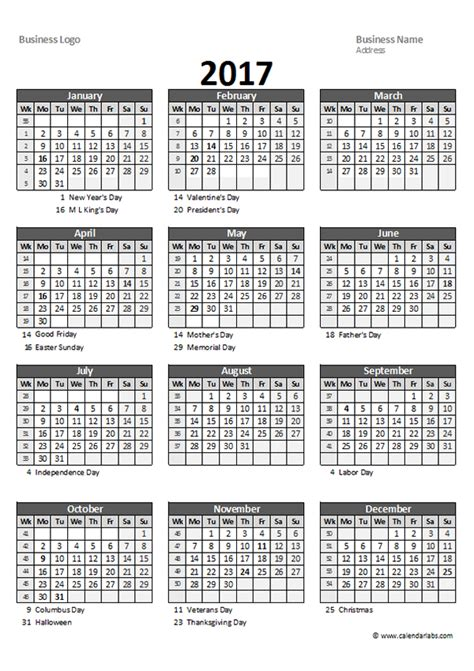 2017 excel yearly business calendar free printable templates