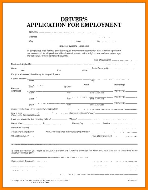 free truck driver application template truck driver employment application form template 7 truck