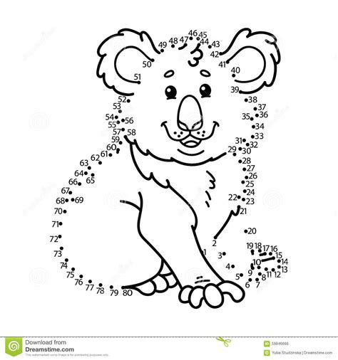 dot to dot koala game stock vector image 59846666