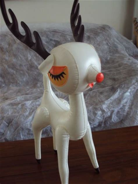 vintage inflatable tabletop reindeer 1960s 30 inches tall