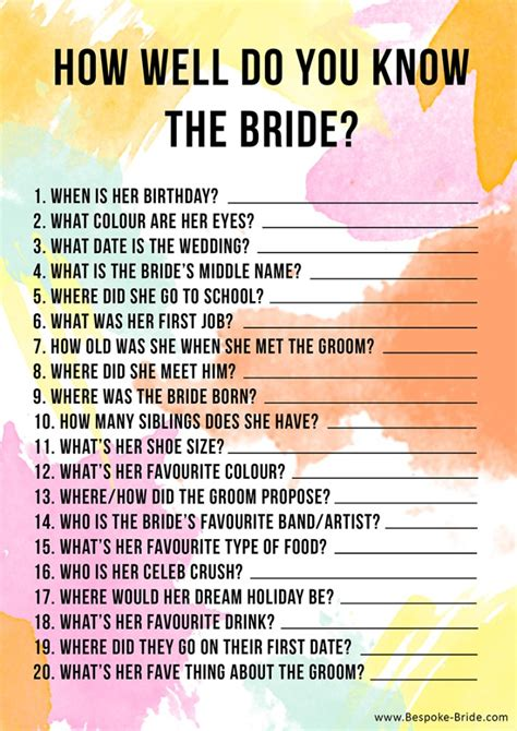 free printable how well do you know the bride hen party